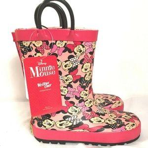 Disney Minnie Mouse Rain Boots Girls 11/12 Pink